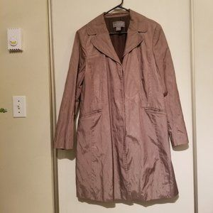 ANN TAYLOR Taupe Metalic frock Trench Coat Large